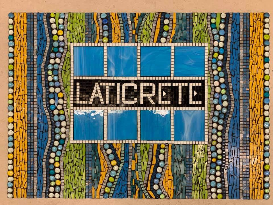 LATICRETE mosaic logo created by Angie Halford Ré, Owner of Unique Mosaics