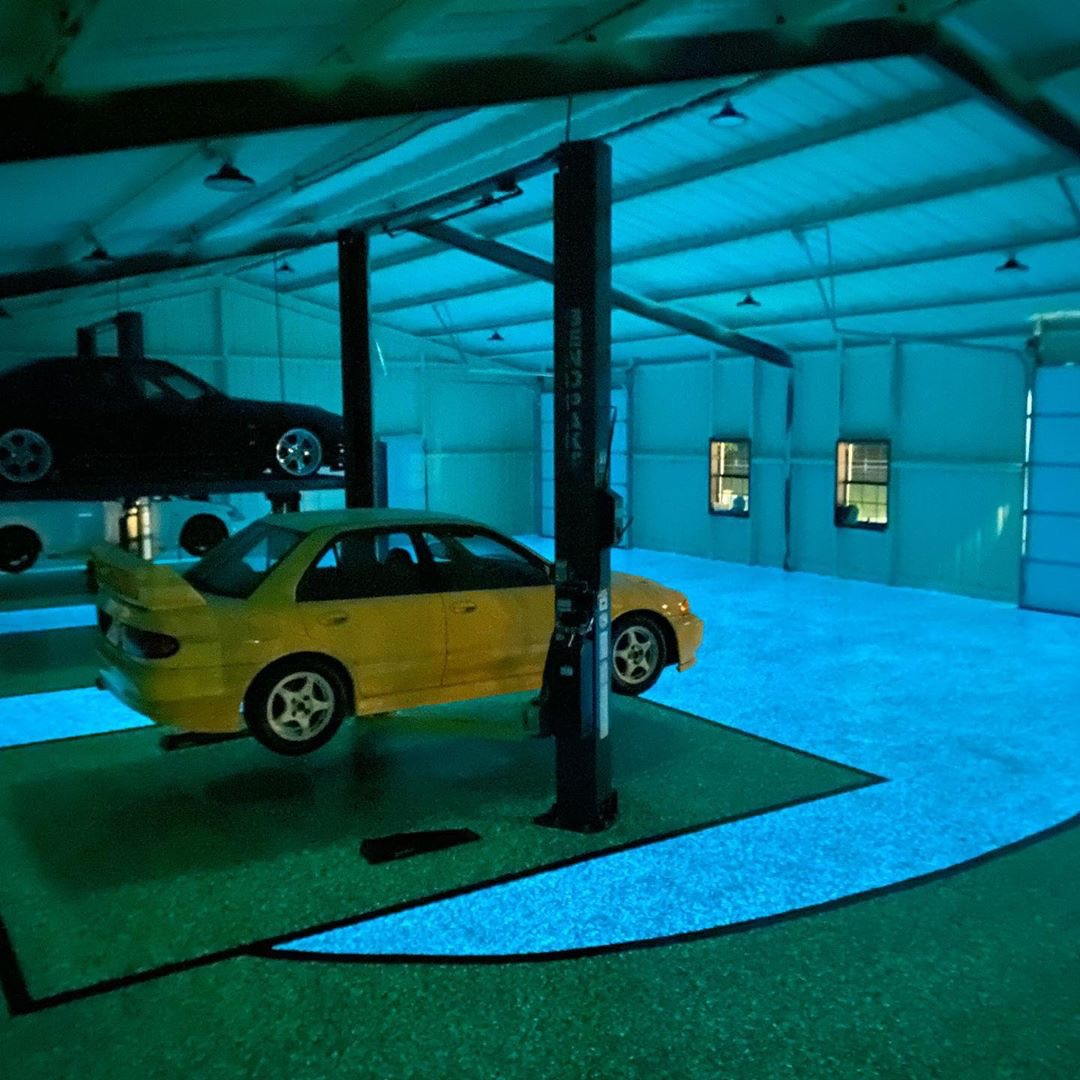 Glow in the dark resinous flooring at Evan Shanks garage