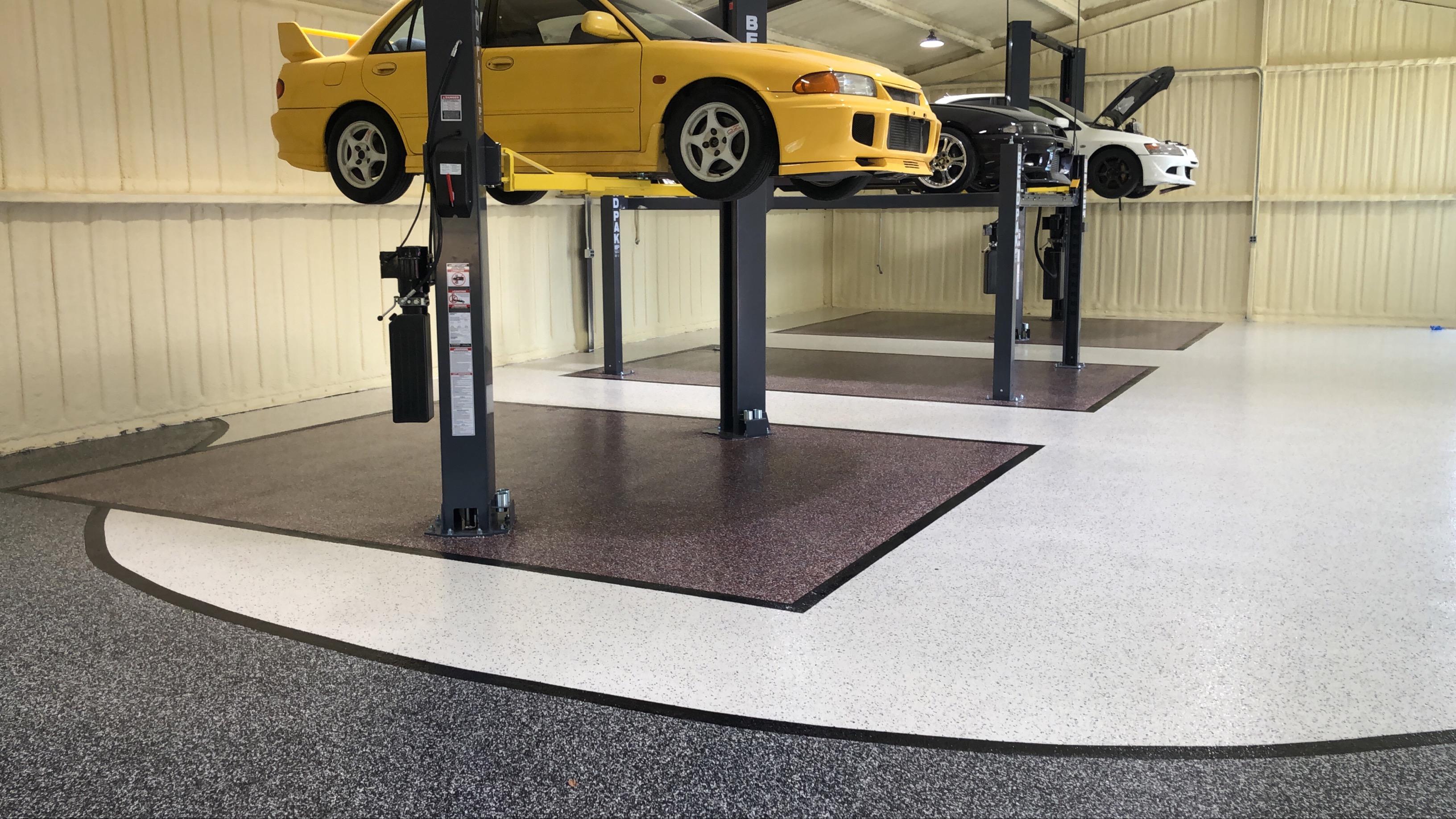 SPARTACOTE resinous flooring installed at Evan Shanks garage