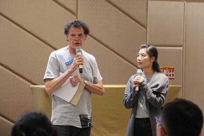 David Rothberg, Chairman / CEO of LATICRETE International with Jenny Fu, Management Trainee