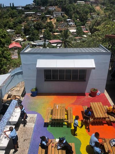 Outdoor cafeteria with SPARTACOTE polyaspartic floor coating system