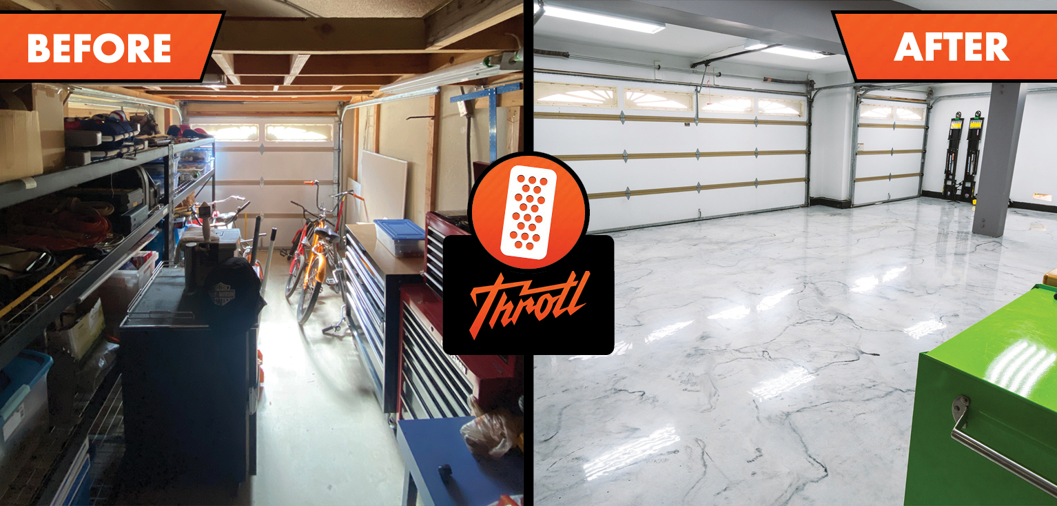 Throtl before and after of resinous flooring garage makeover