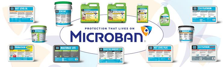 LATICRETE incorporates Microban antimicrobial protection in several tile and stone products