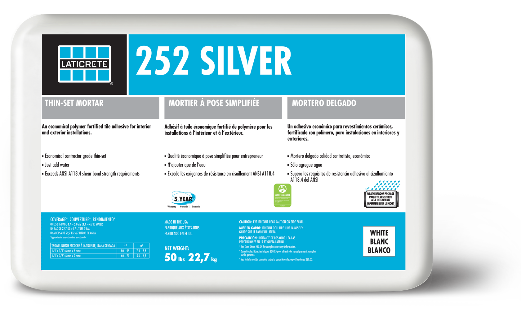 252 Silver is an economical polymer modified, bagged, cementitious thin-set  powder to be mixed only with water using the thin-set method of  installation.
