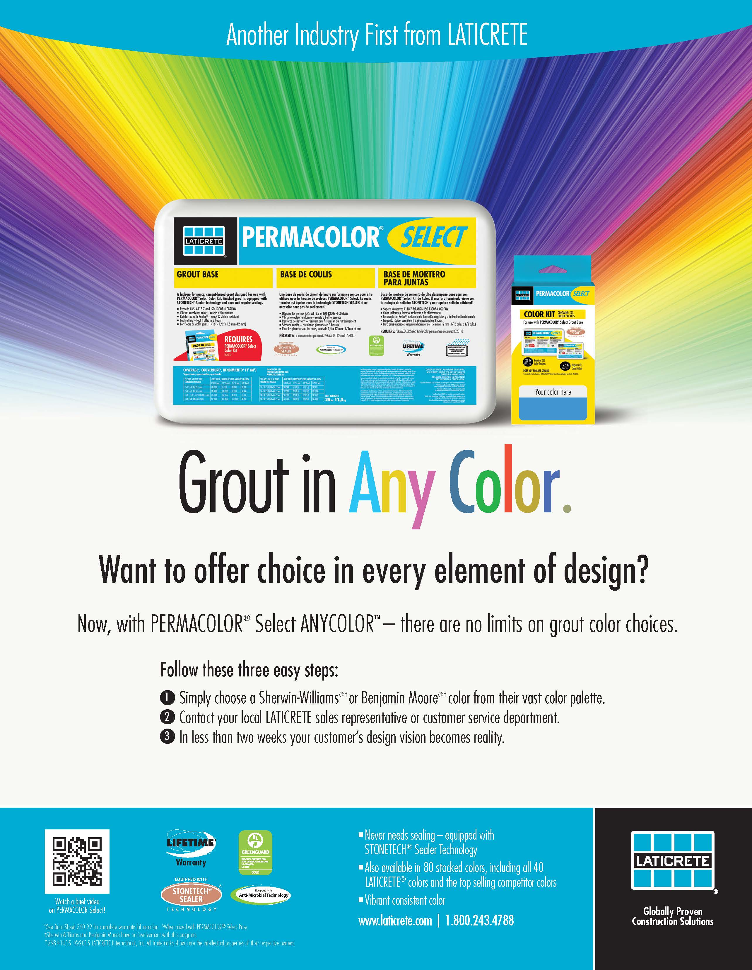 Grout in Any Color - Sell Sheet
