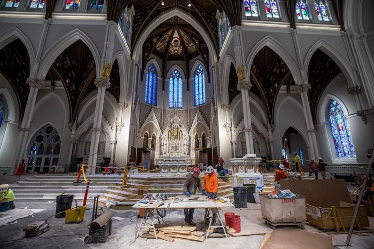 LATICRETE rapid setting grouts, SPECTRALOCK PRO Premium and PERMACOLOR Select being used in the renovation of the Cathedral of the Holy Cross in Boston, Massachusetts
